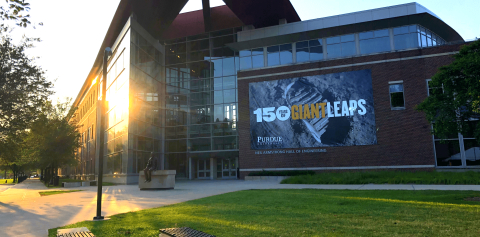 150 Years of Giant Leaps signage on the Neil Armstrong Hall of Engineering