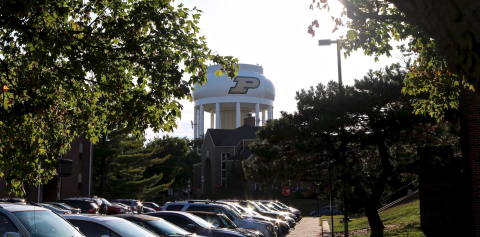 A water tower featuring the Purdue logo