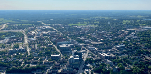 An aerial view of Purdue's campus