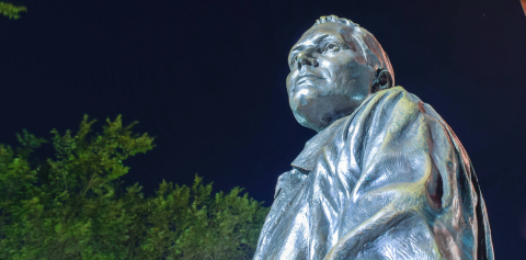 The Neil Armstrong statue at night