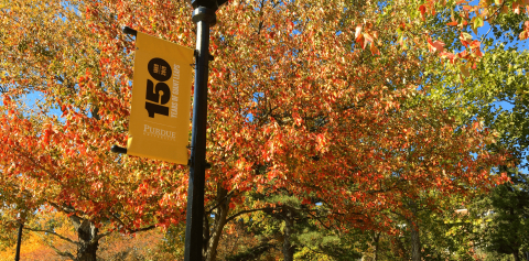 A Purdue street banner in front of a group of trees
