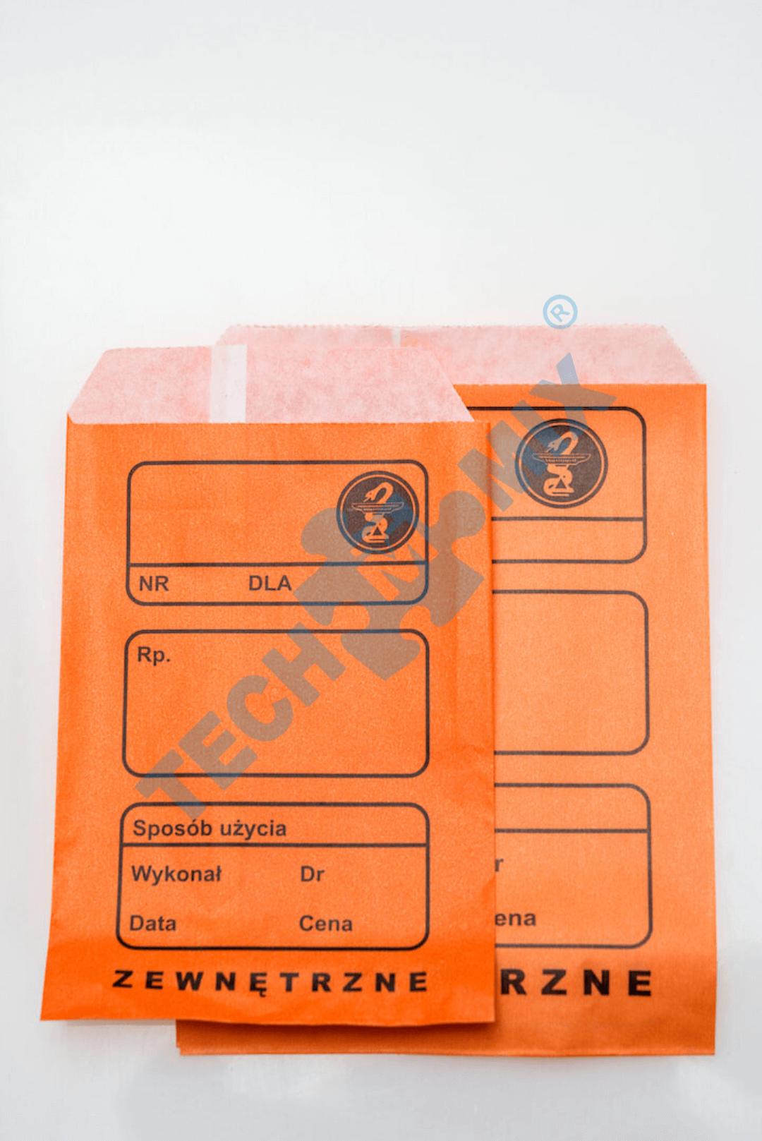 TOREBKI RECEPTUROWE POMARAŃCZOWE MAŁE (10X15) X 100SZT.