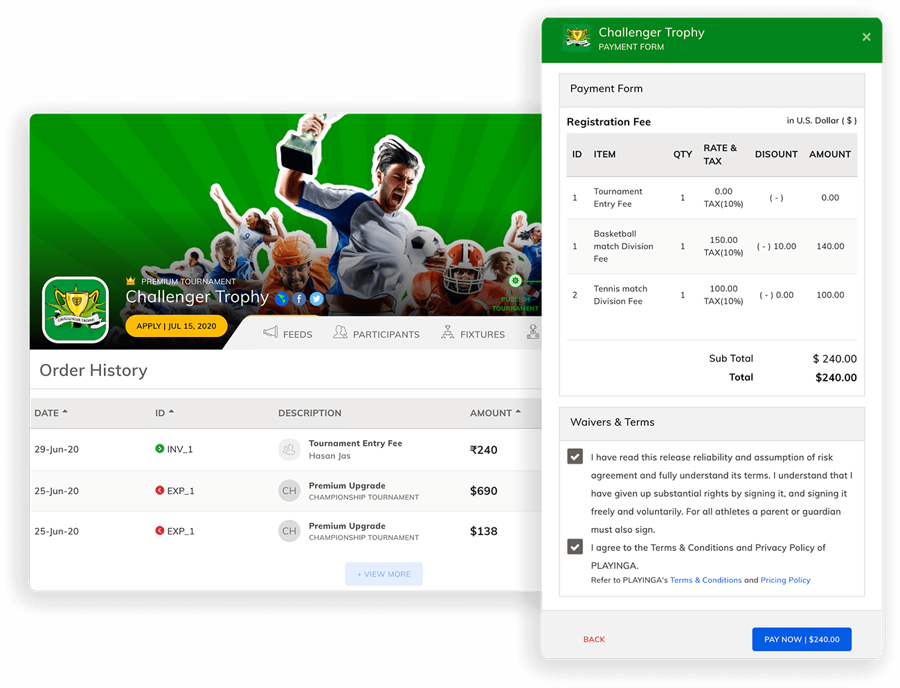 Collect Tournament Payments Online