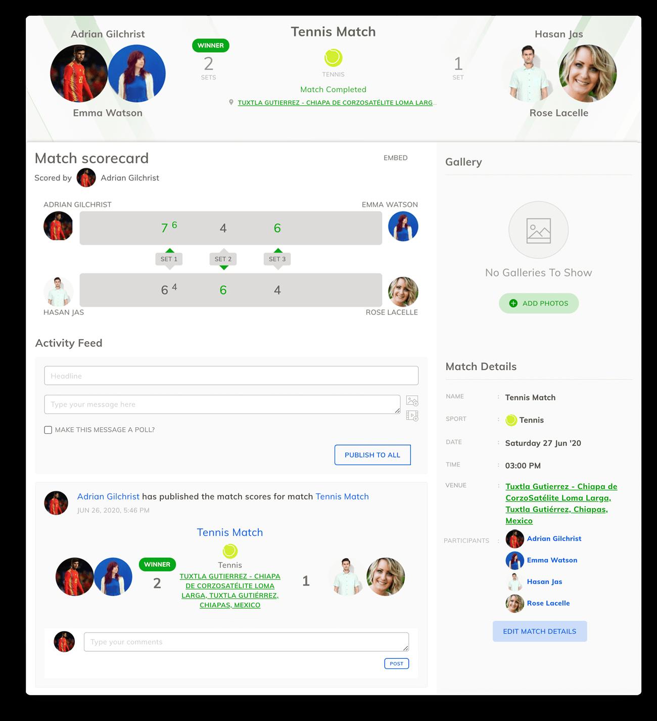 Beach Tennis Scorecard