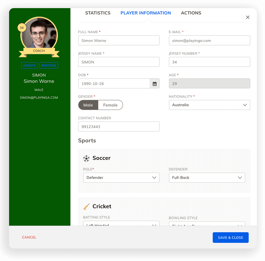 Manage Cricket Team Roster Online