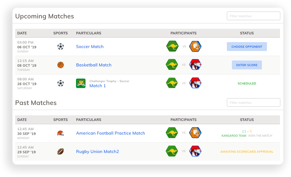 Manage American Football Match Schedule