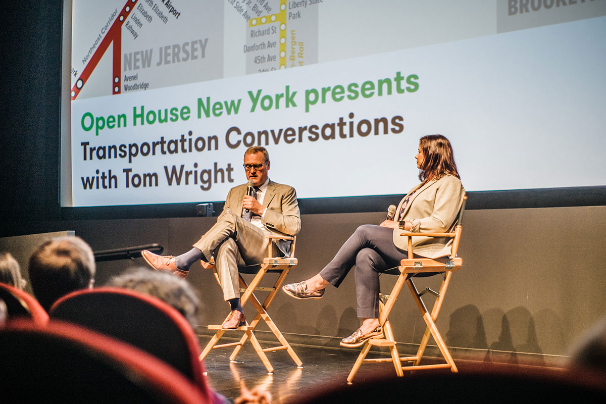 Tom Wright and Sarah Kaufman in conversation on stage.