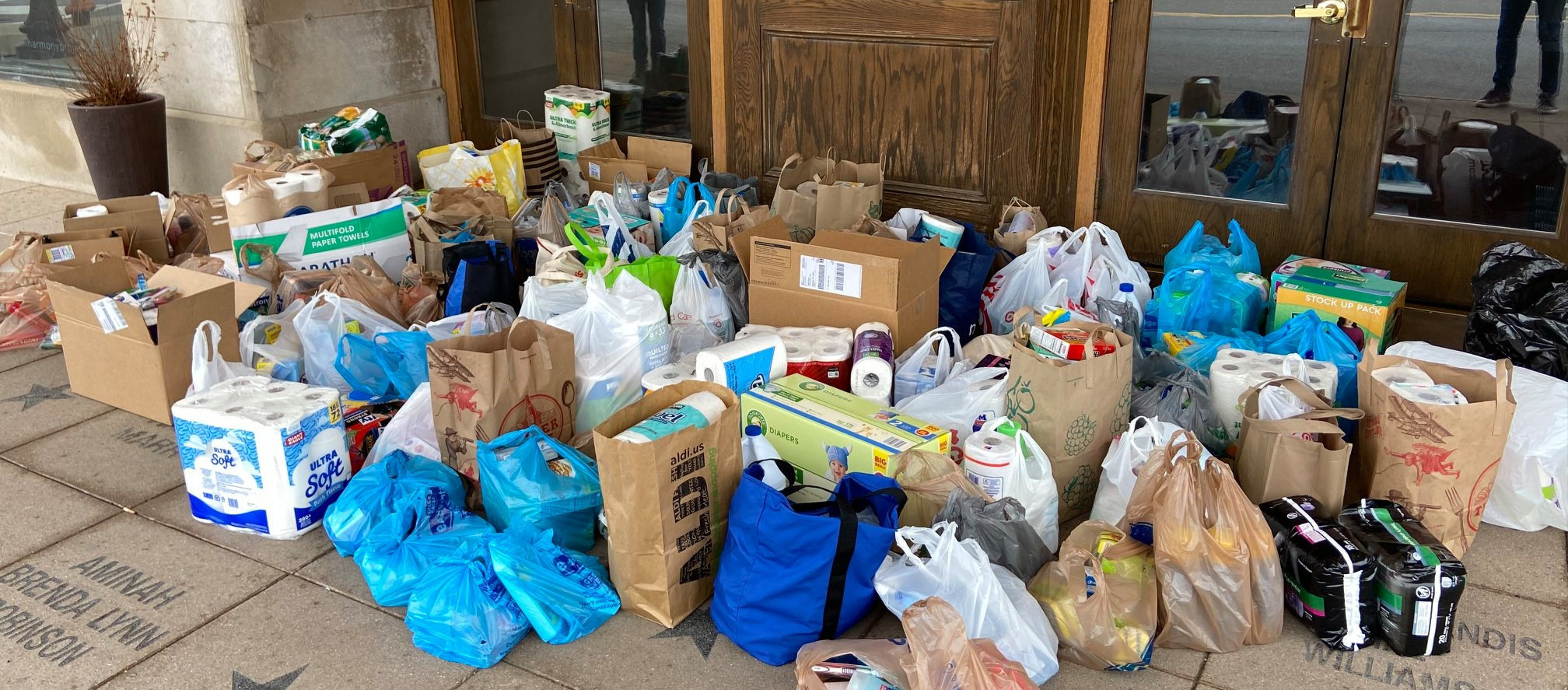 Food and material donation drop-off for COVID-19 emergency response by Community Shelter Board