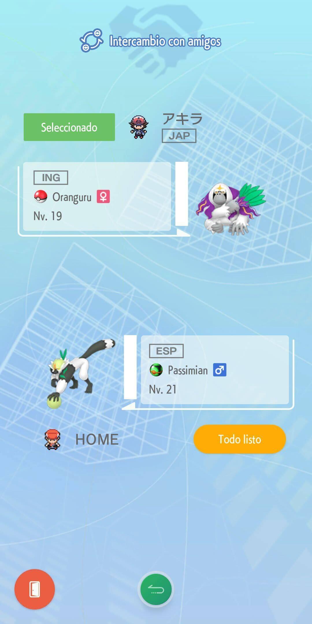 Intercambio con amigos Pokemon Home