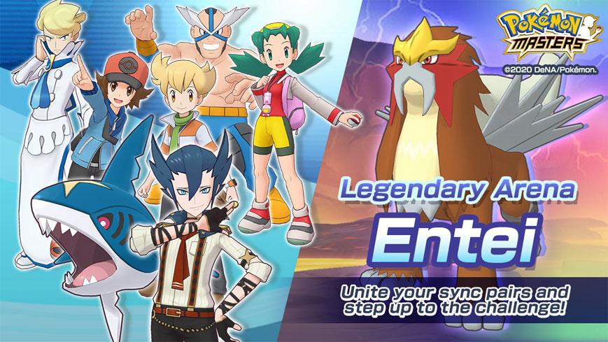 Combate Legendario Entei 🔥, Aza Traje S con Mega-Sharpedo y más en Pokémon Masters