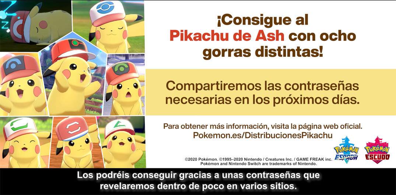 Evento de distribución de Códigos de Pikachu con distintas gorras de Ash en Pokémon Espada y Escudo