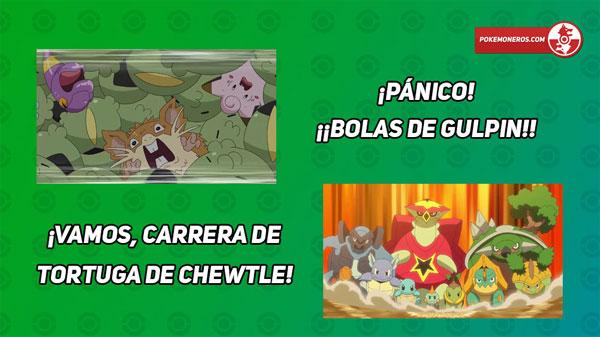 Capítulo 58 Anime Pokémon Viajes - Bolas de Gulpin / Carrera de tortugas de Chewtle (Resumen)