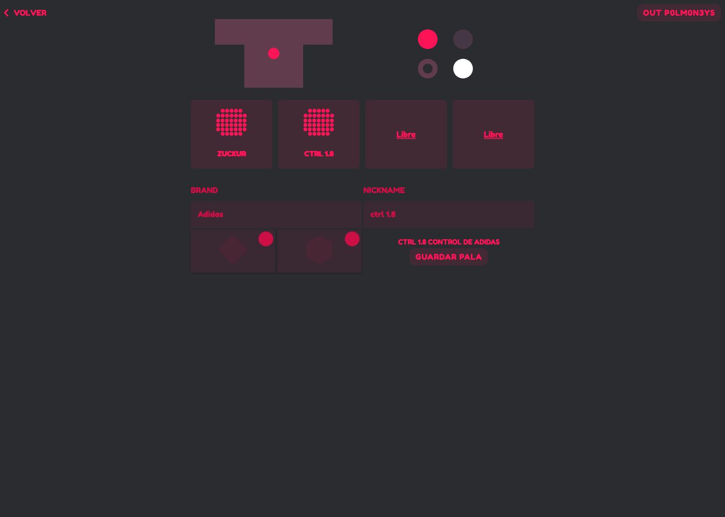 Screenshot of padel app