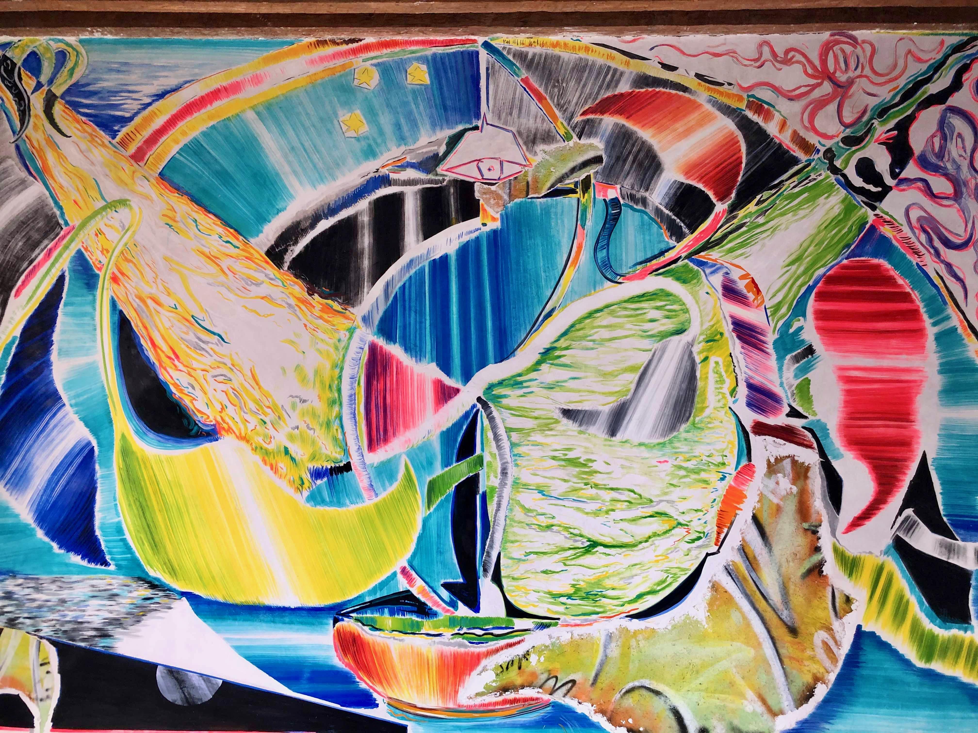 Allan Villavicencio, Transcapes (obra en proceso), murales al fresco, Academia 14, 2020. Foto: Joséphine Dorr