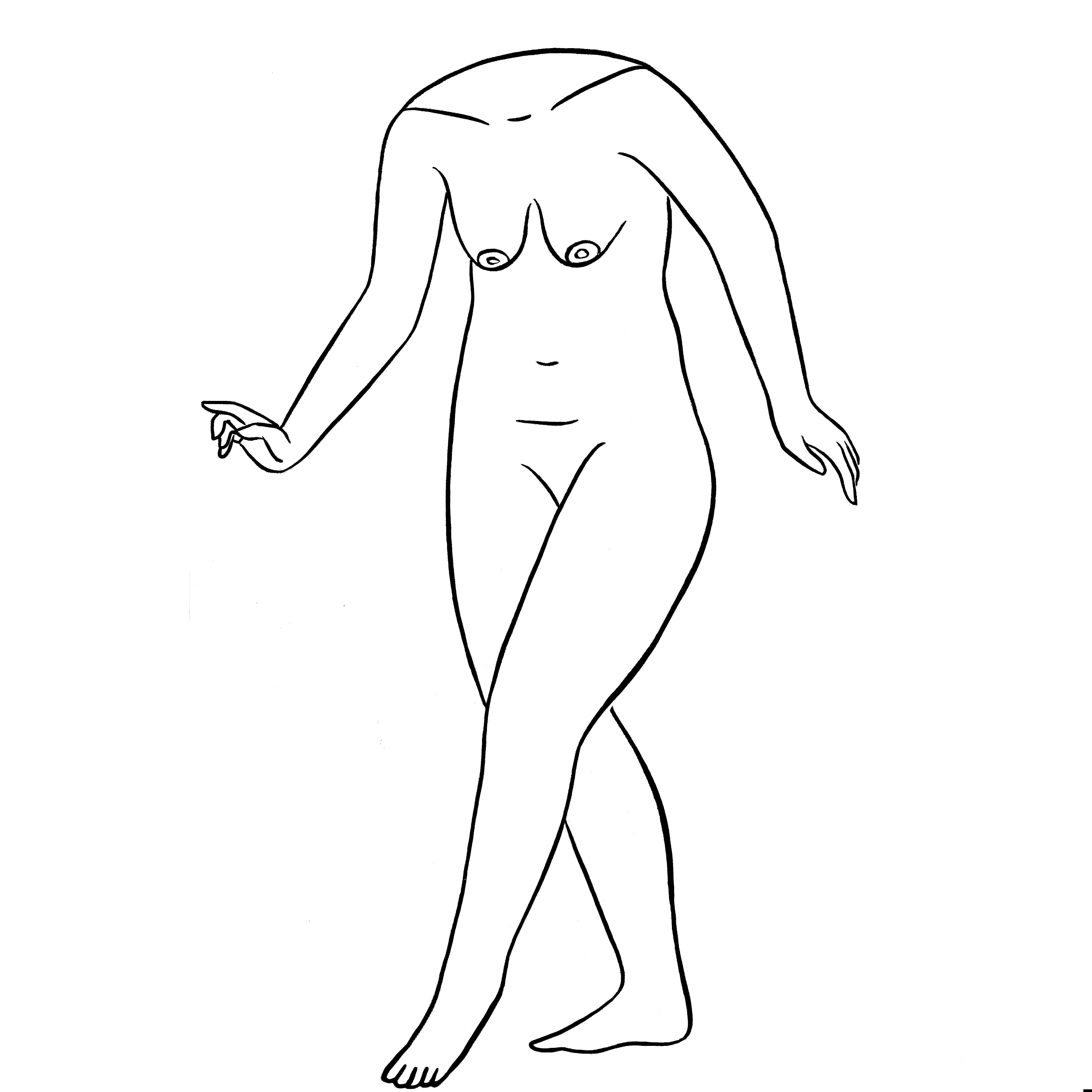 María Conejo, Figura IV (reflejo), tinta sobre papel