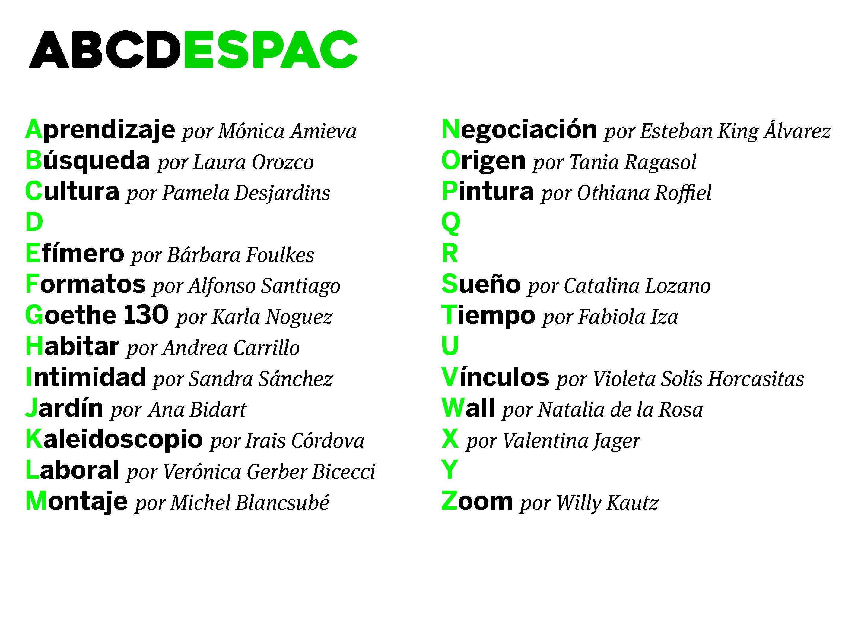 Colaboradorxs del ABCDESPAC al 22 de enero Colaboraciones. Cortesía ESPAC