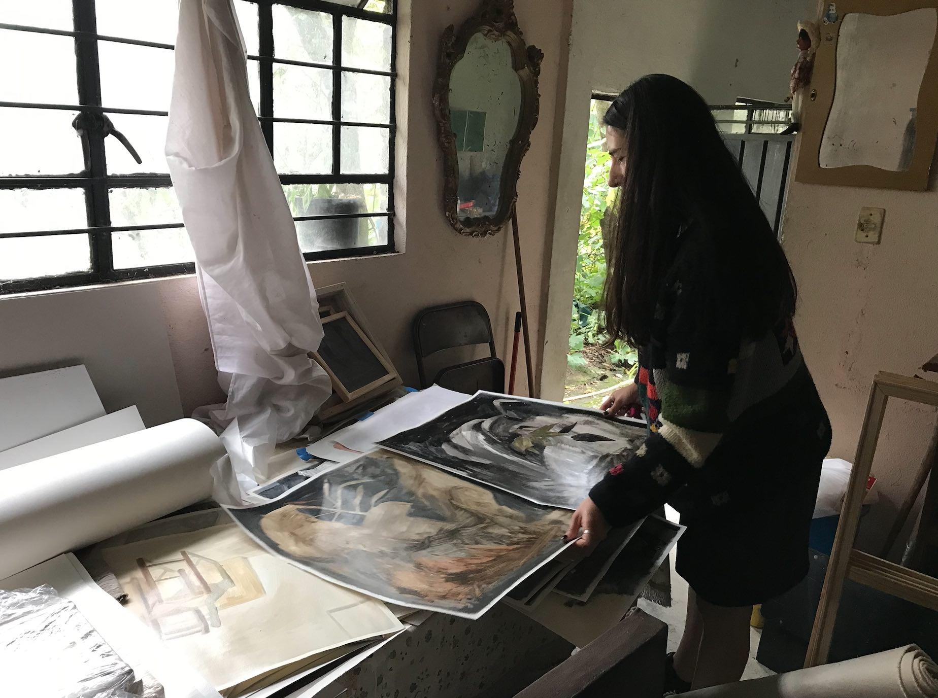 Estudio de Alicia Ayanegui, agosto 2021. Foto: Antonia Alarcón