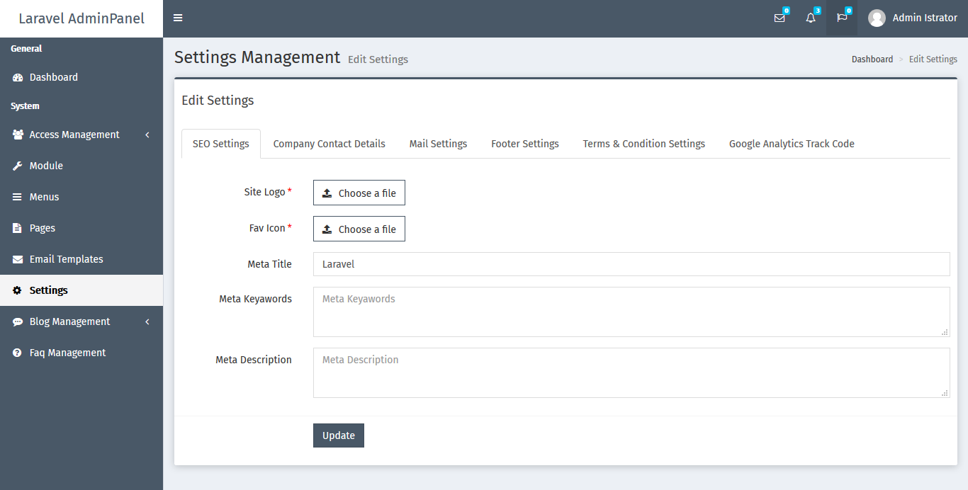 Laravel AdminPanel (LAP) Preview 1