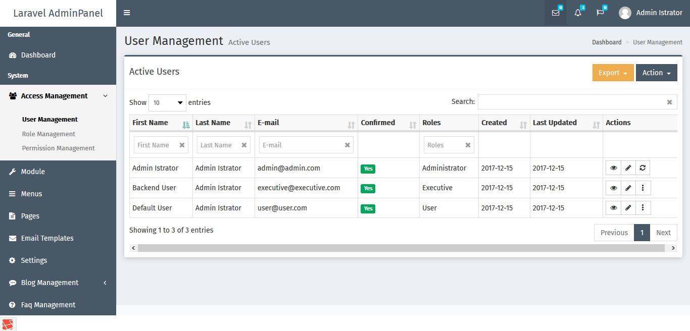 Laravel AdminPanel (LAP) Preview 2