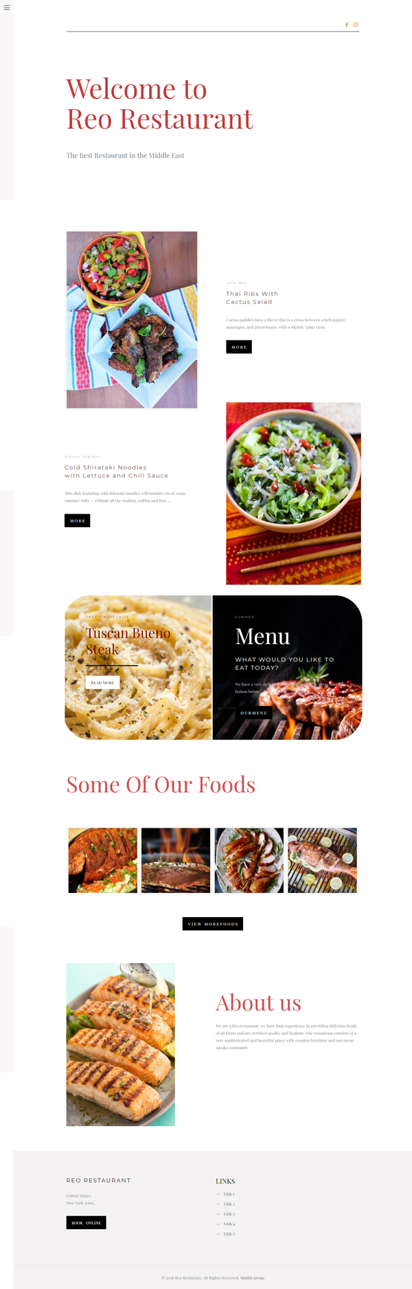 Reo Resturant Website Preview 1