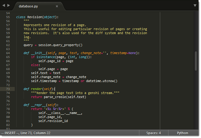 Exemplo  de tela do editor Sublime Text