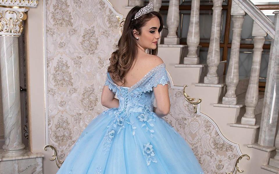 Vestidos de Quinceañera Azul Claro con Apliques