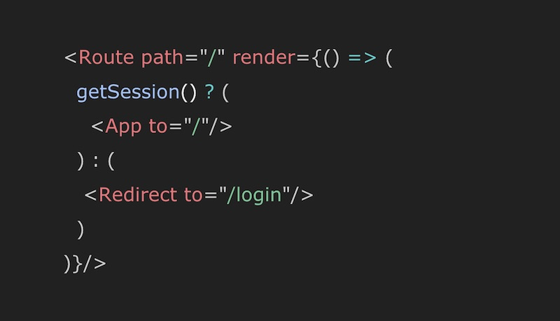 Conditional rendering code example with React Router