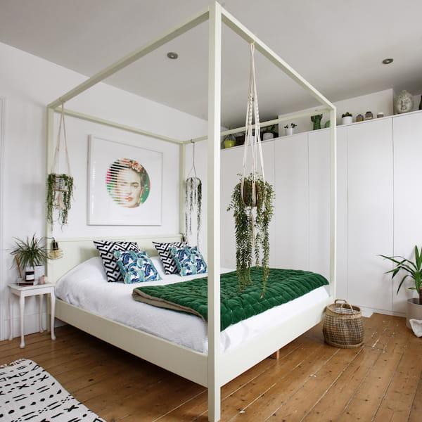 Celeste Off-White Pine Four Poster / Canopy Bed Frame
