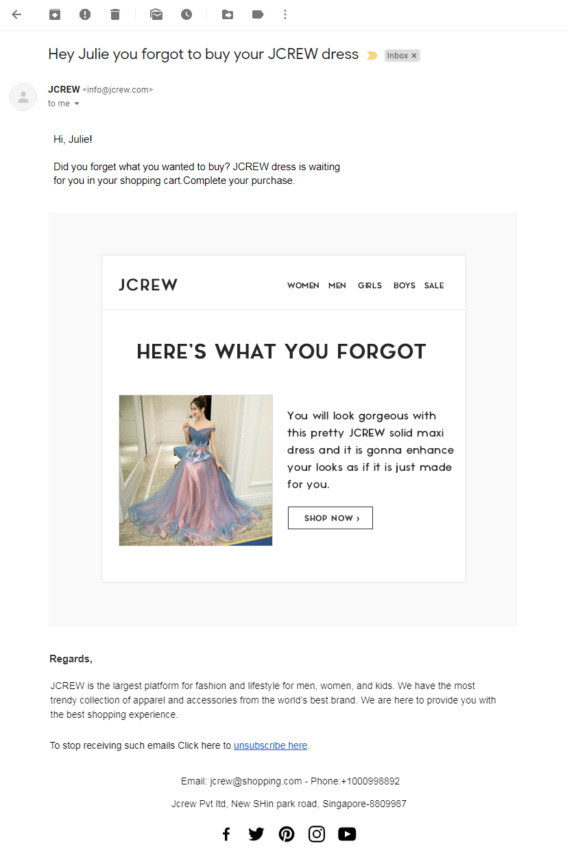 1st Email template