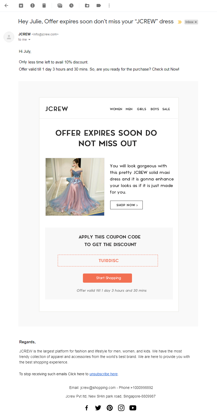 5th Email template