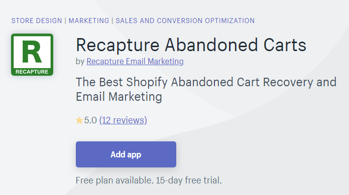 Recapture Abandoned Carts
