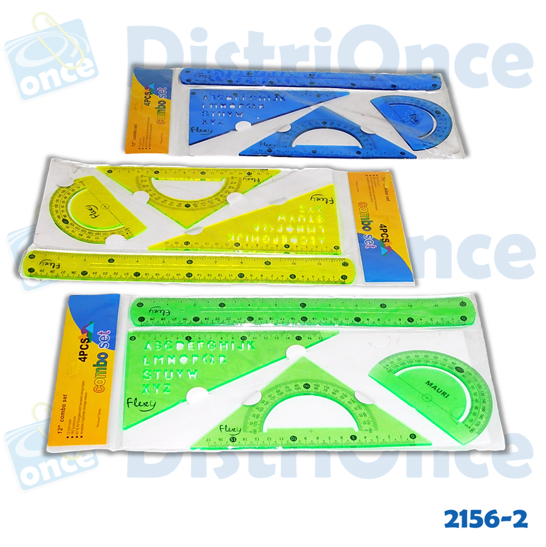 Set geométrico flexible, regla, escuadra y transportador varios colores.