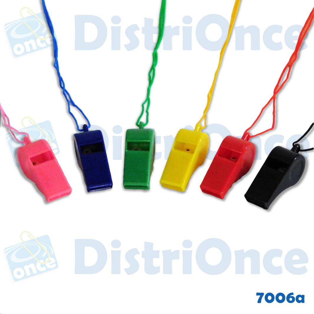 Pitos plásticos con cordón-varios colores