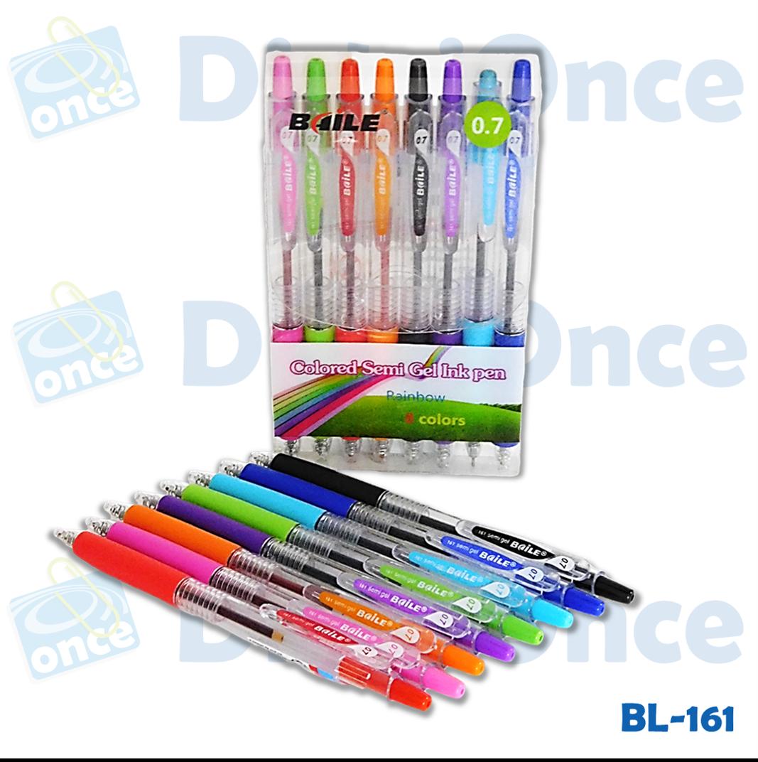 Bolígrafo gel, set x 8 de diferentes colores