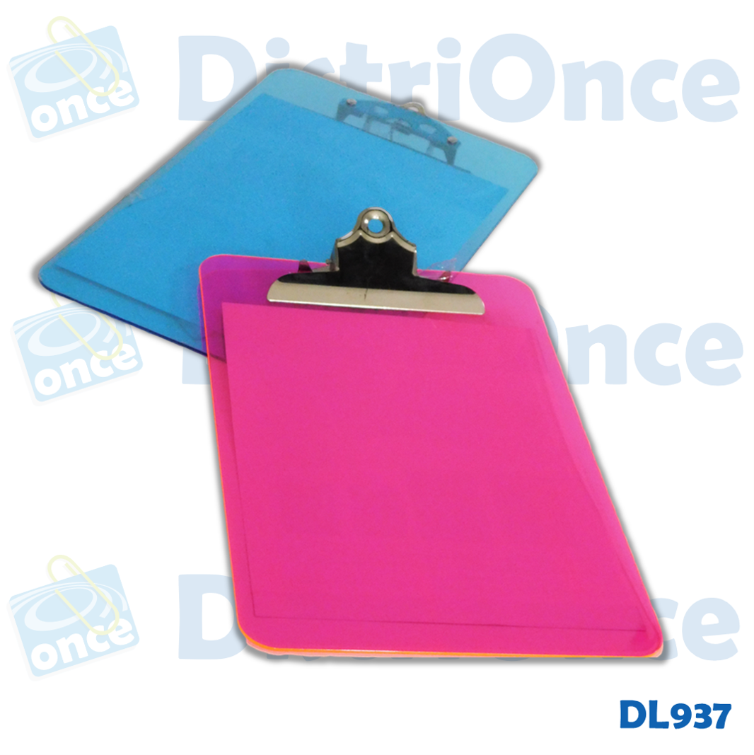 Tabla planillera  acrílica traslucida tamaño Oficio/legal  (216 x 356 mm)