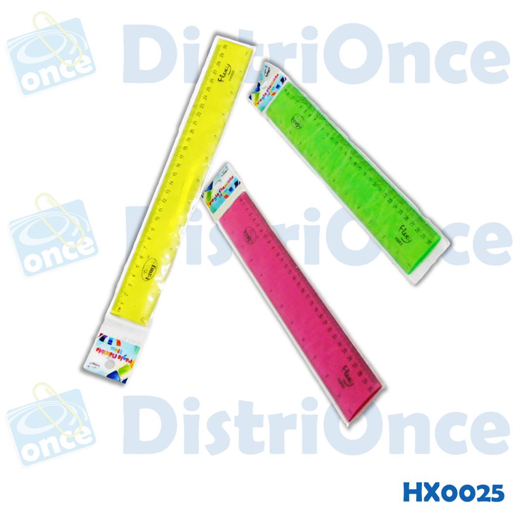 Regla flexible plástica x 30 cm de colores