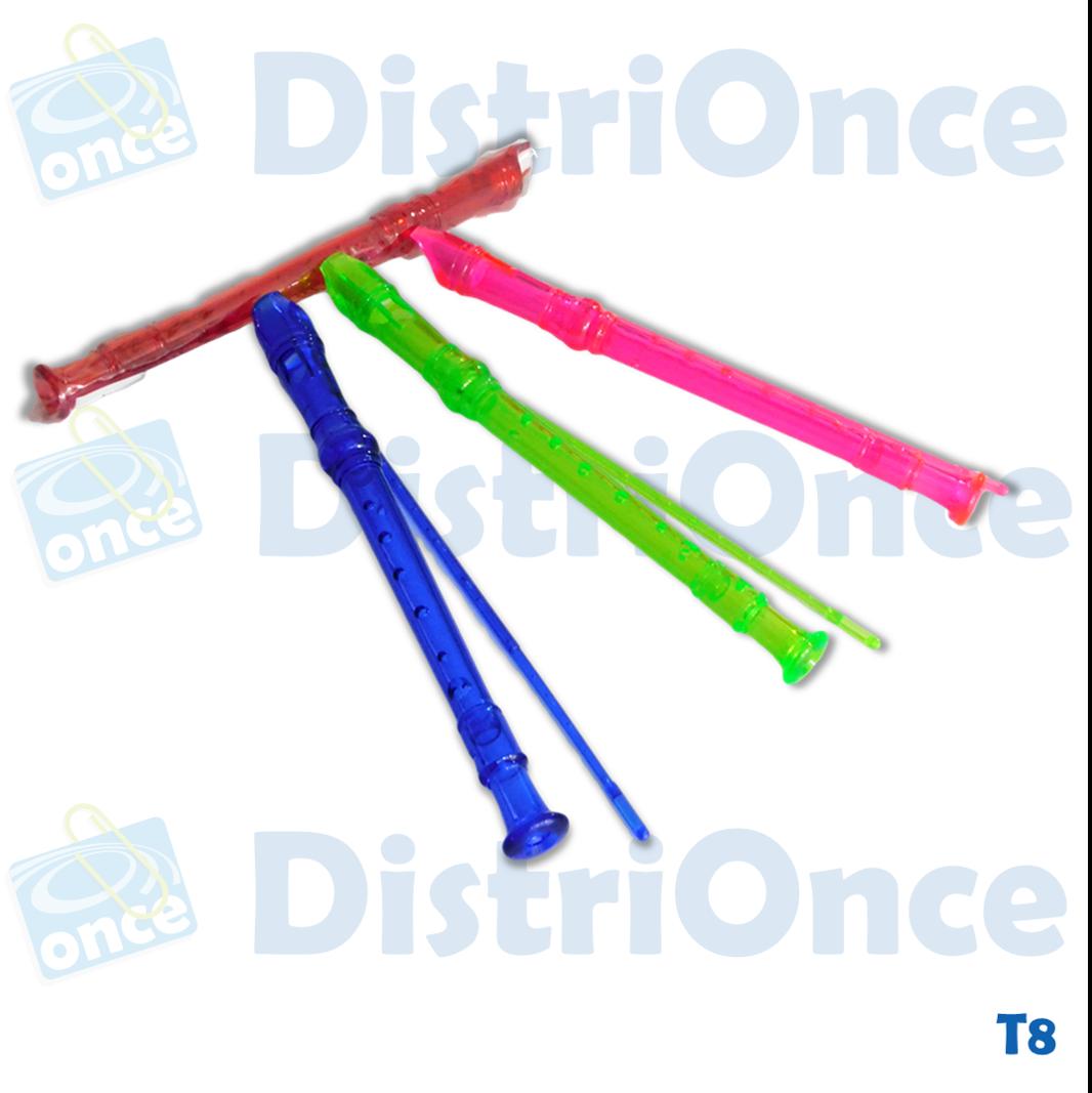 Flauta de pasta varios colores con limpiador y estuche plástico