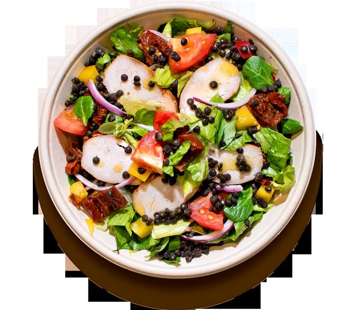 salaty/ Černá čočka s kuřecím masem
