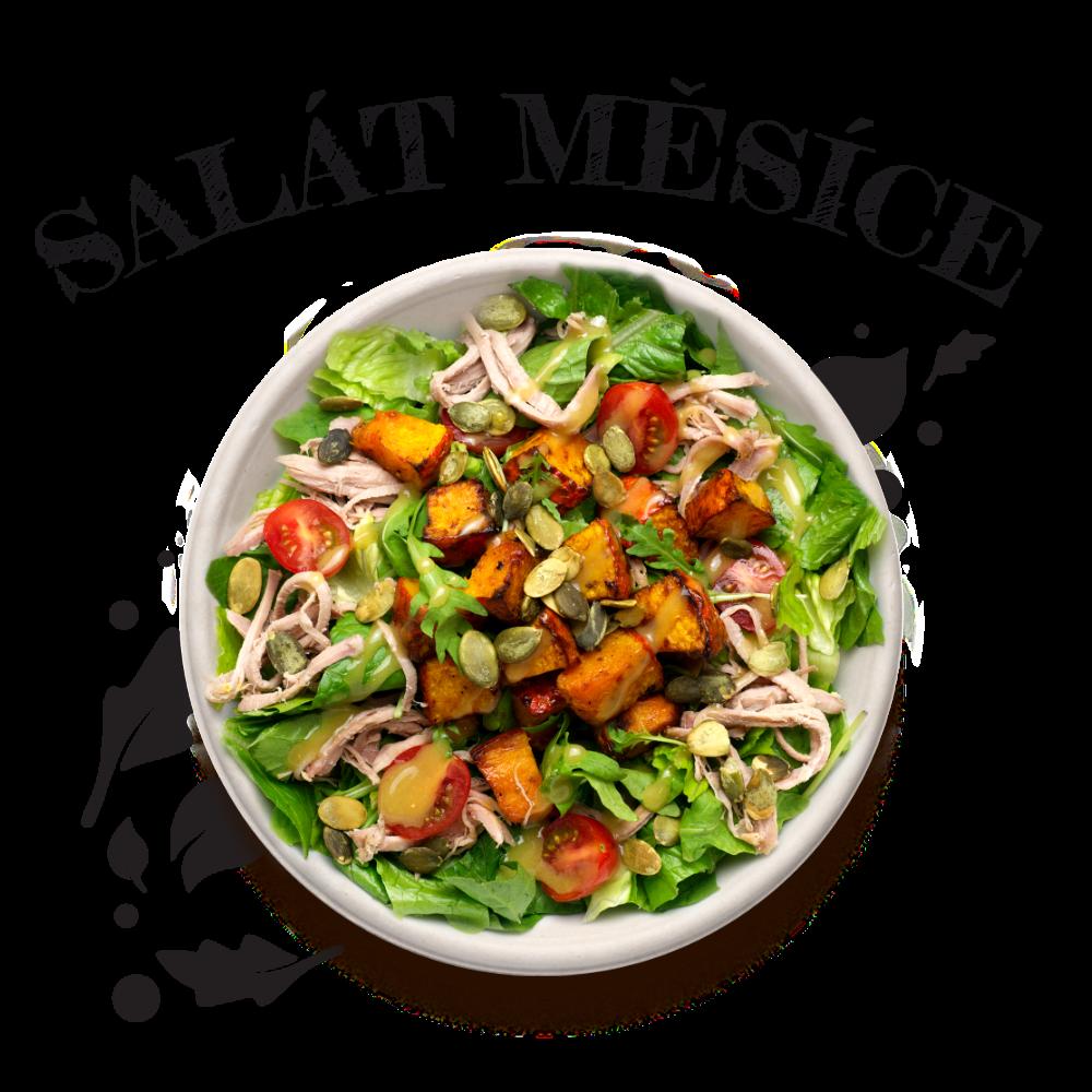 salaty/ S pečenou dýní a trhaným vepřovým masem sous-vide