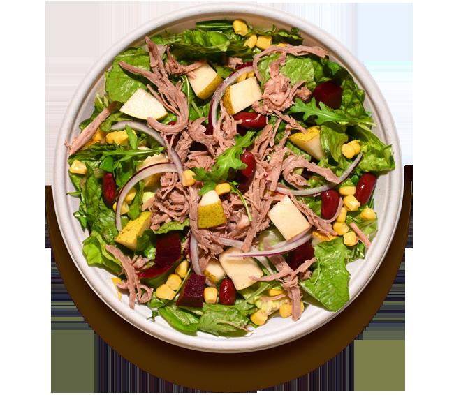 salaty/ S trhaným hovězím SOUS-VIDE