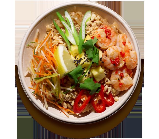 salaty/ S rýžovými nudlemi a krevetami