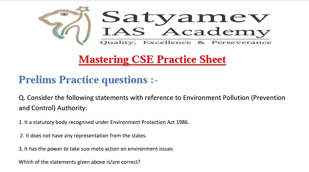Daily Mastering CSE Practice sheet with prelims and mains questions.. participate actively.. keep working hard.. keep your spirit high ✌✌