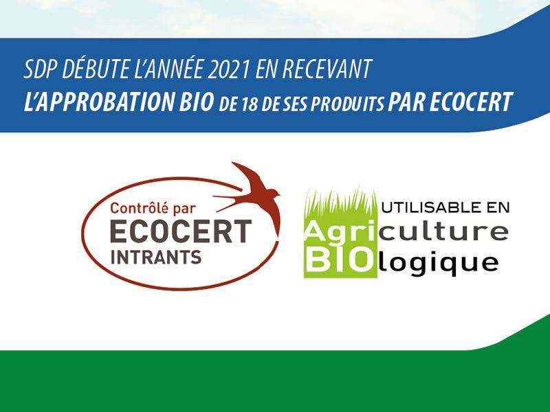 SDP débute l'année 2021 en RECEVANT l'approbation Bio de 18 de ses produits par ECOCERT.
