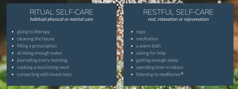 a list comparing examples of ritual self-care and restful self-care