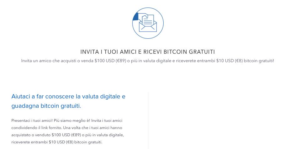 Coinbase invita amici bitcoin gratis