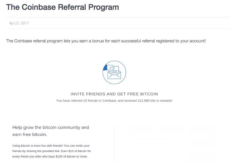 Coinbase referral program free bitcoin