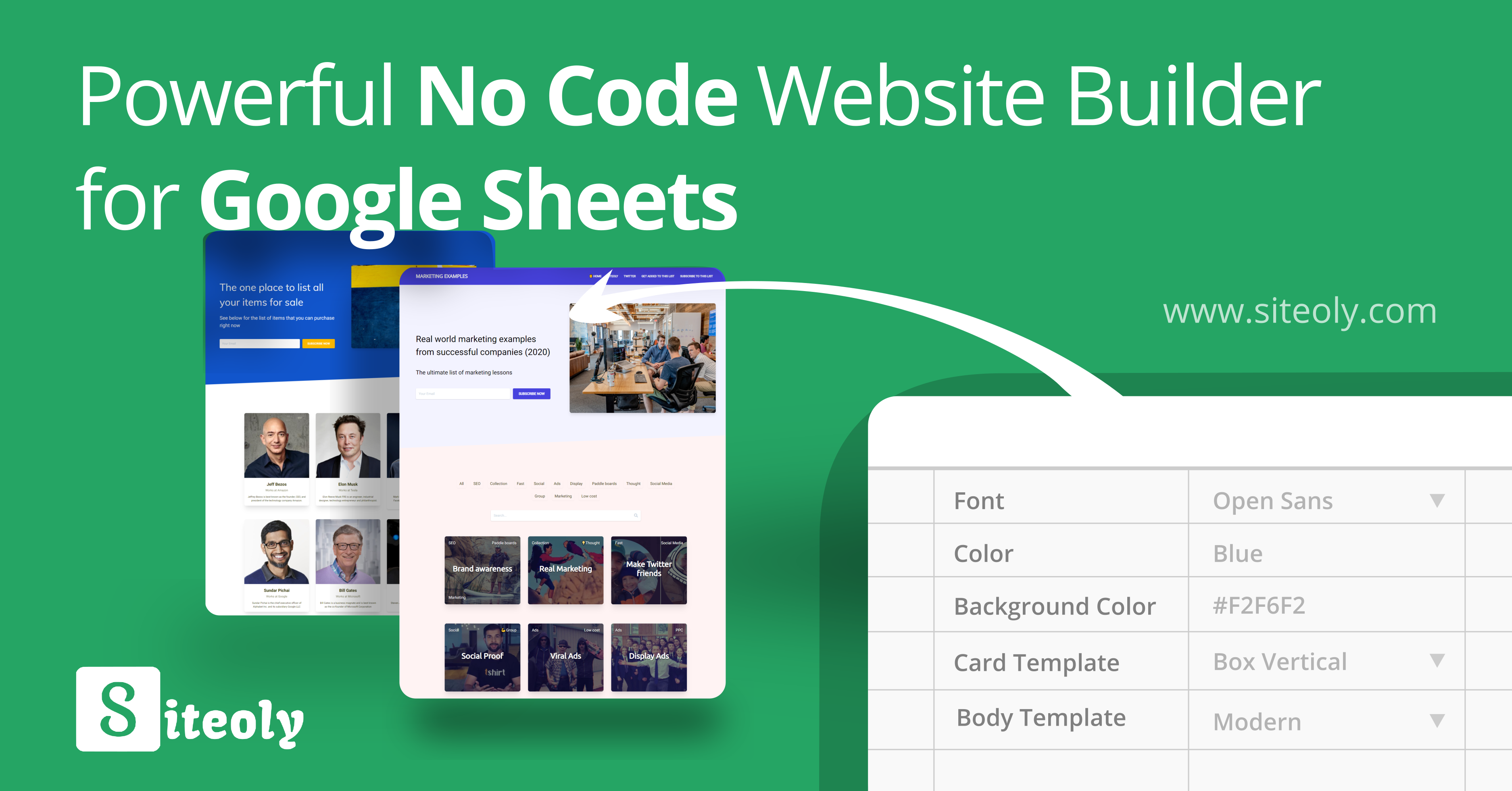 Siteoly - The fastest way to build websites from Google Sheets