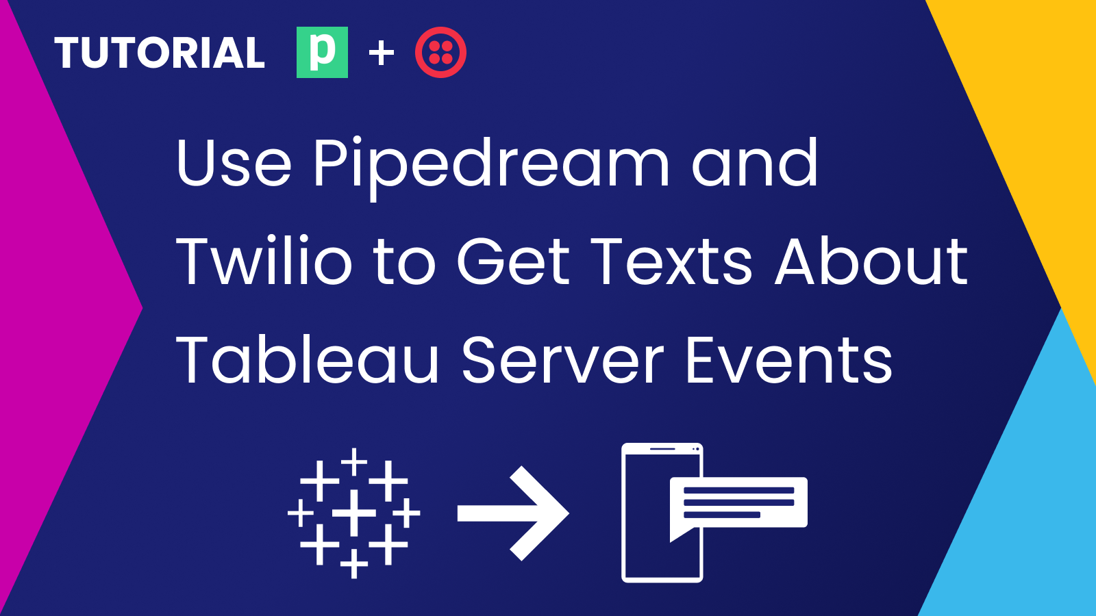 Use Pipedream and Twilio to Get Texts About Tableau Server Events