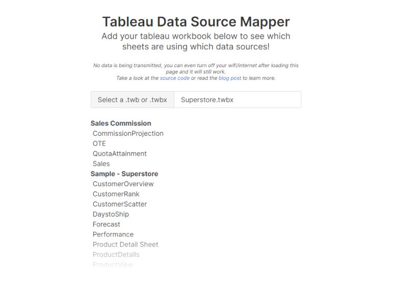 Screenshot of Data Source Mapper