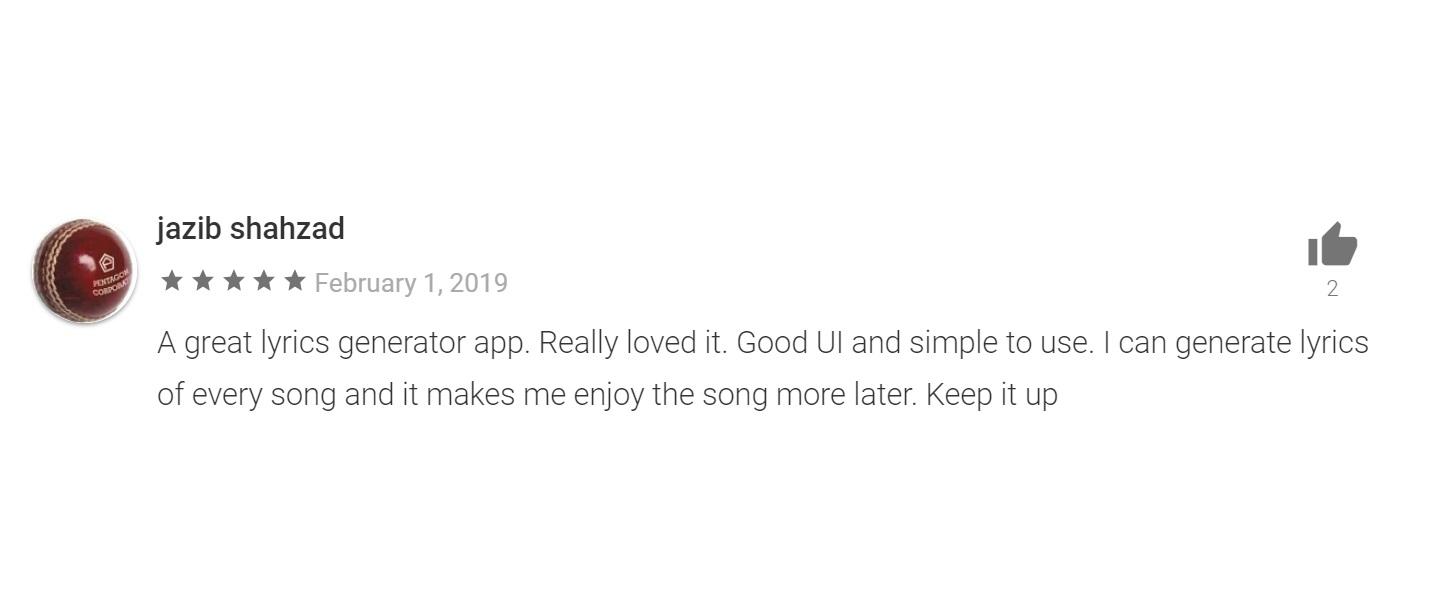 google play store review for soly song and lyrics finder app